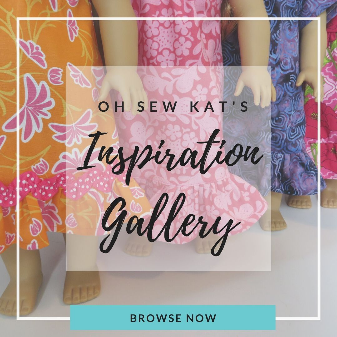 Find color photos of ideas to sew each pattern by oh Sew Kat. Scroll through the gallery and be inspired to make your own unique doll clothes.