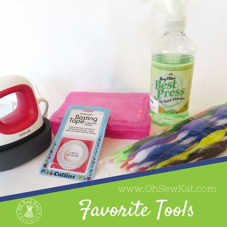 5 sewing tools and notions for beginners and beyond to sew doll clothes. Sewing tools to make doll clothes sewing faster and easier by OH SEW KAT. Best sewing notions and tools for sewing doll clothes. Find easy sewing PDF patterns to diy doll clothes from Oh Sew Kat! for popular doll sizes like 18 inch American Girl dolls, wellie wishers dolls and Disney Animators Dolls. #sewingnotions #besttools