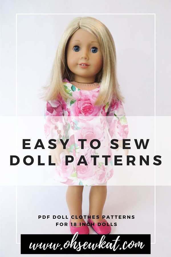 Easy PDF digital sewing patterns from OhSewKat make your valentine sewing projects quick and easy! Make your 18 inch doll the School Dance Dress (pattern in my etsy shop) in just an afternoon. Quick to sew, print at home, easy sewing pattern perfect for beginners. #firstsewingproject #valentinesday