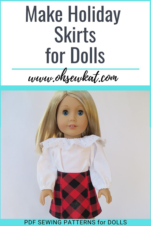 Use easy PDF printable sewing patterns from Oh Sew Kat! to make your Americna Girl Dolls curte skirts this holiday season. Easy to sew, few supplies and fun to make! Find a full selection of PDF sewing patterns for American Girl dolls in the OHSEWKAT etsy shop. #dollclothes #pdfprintable