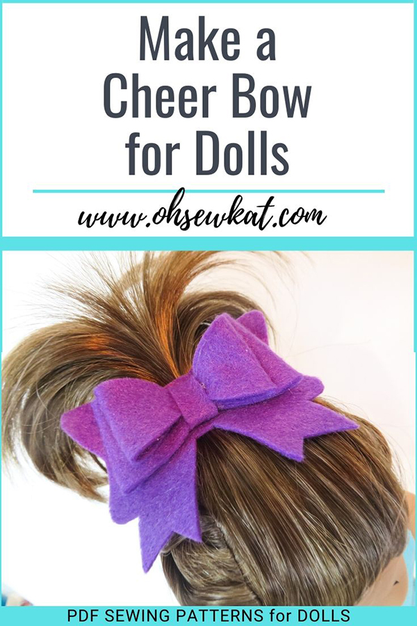 Make a quick and easy cheer bow for your 18 inch doll like Joss Kendrick with this cricut tutorial from OhSewKat! Make it with felt, leather or vinyl and pair it with DIY doll clothes made from Oh Sew Kat! etsy shop PDF digital sewing patterns for dolls.