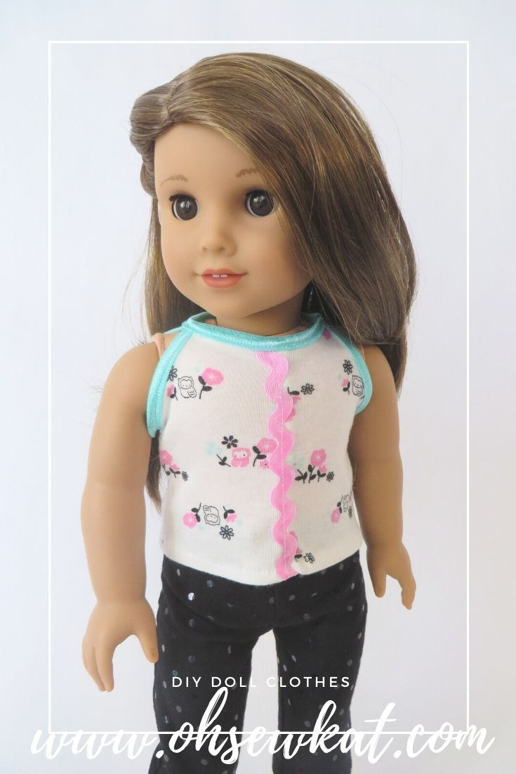 Make a tank top for Joss American Girl doll with this easy pattern hack by Oh SEw Kat! Easy to sew patterns on Etsy!