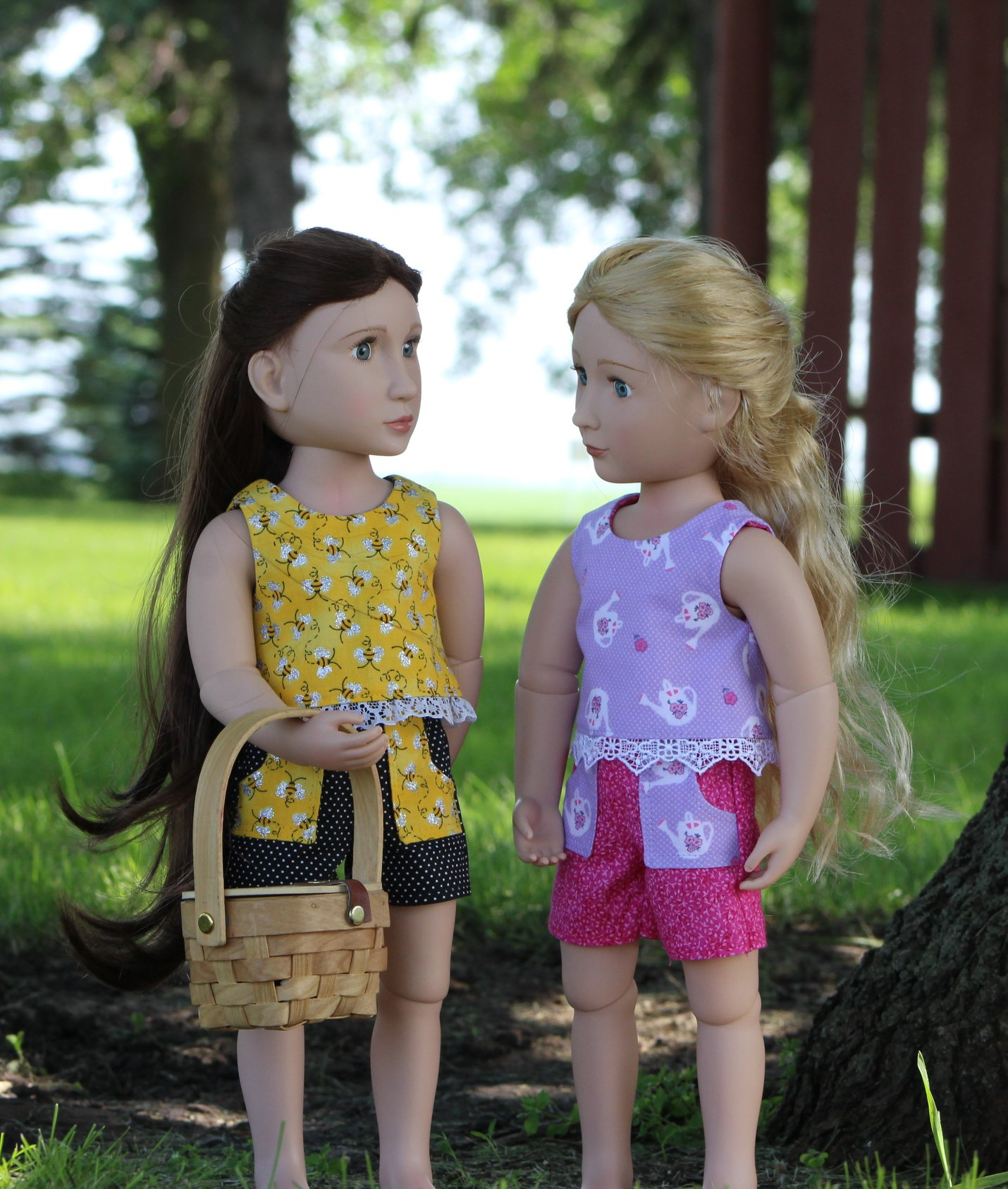 Sandbox Shorts and Popsicle Top sewing patterns for a Girl for All time dolls by Oh Sew Kat! Find more pdf digital printable patterns for dolls of all sizes in my etsy shop.