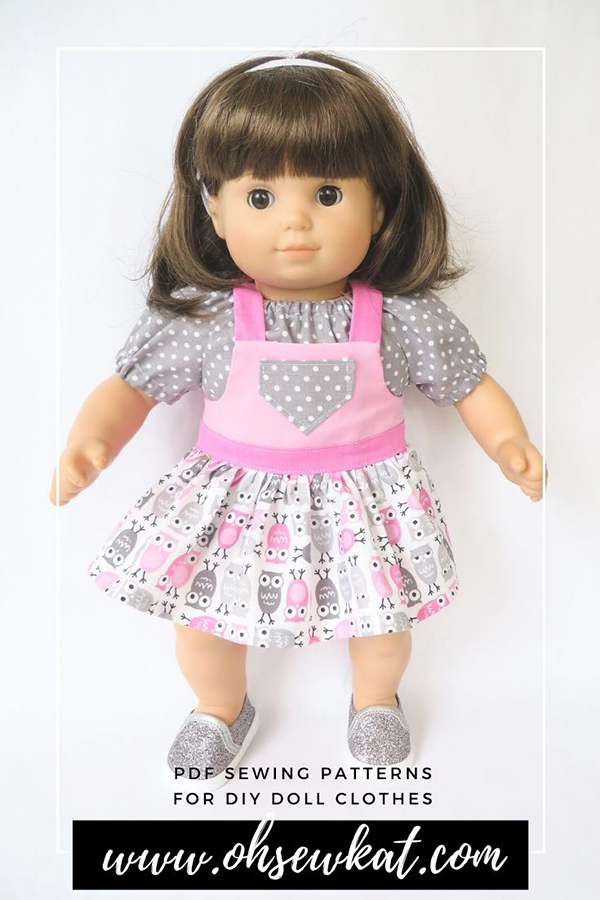 Make your own doll clothes for 15 inch Bitty Baby and Bitty Twins dolls with Easy PDF digital sewing patterns from OhSewKat on Etsy. Download and sew today! Full color step by step tutorial directions for beginners.