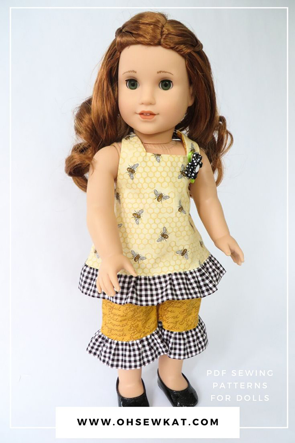 Make your own doll clothes with easy and simple PDF sewing patterns from Oh Sew Kat! Find more printable patterns in my Etsy Shop to diy 18 inch doll clothes.