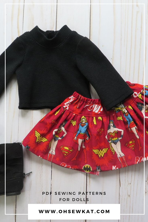 Use the FREE Four Season Skirt pattern to make a superhero skirt for your favorite 18 inch doll friend. The wonder woman fabric is perfect for a quick and easy DIY doll outfit. Find more easy PDF printable patterns at the Oh Sew Kat! Etsy Shop.