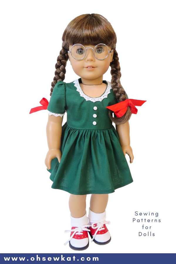 DIY doll clothes sewing patterns for Molly McIntire 18 inch American Girl Doll. Easy to sew PDF Patterns from OhSewKat.