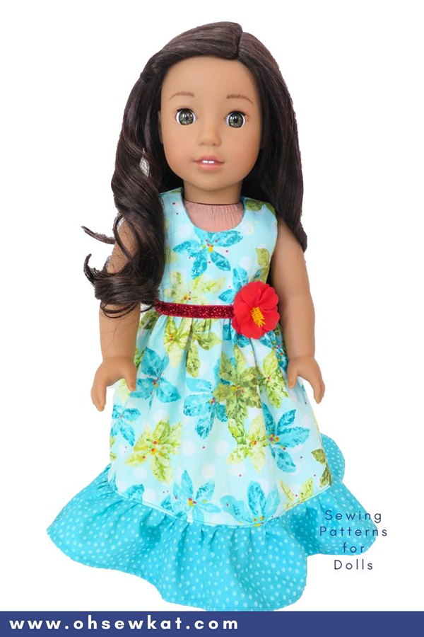 DIY doll clothes sewing patterns for Nanea Mitchell 18 inch American Girl Doll. Easy to sew PDF Patterns from OhSewKat.