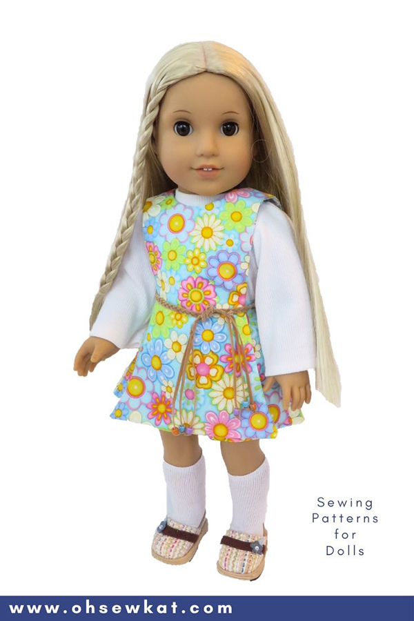 DIY doll clothes sewing patterns for Julie Albright 18 inch American Girl Doll. Easy to sew PDF Patterns from OhSewKat.