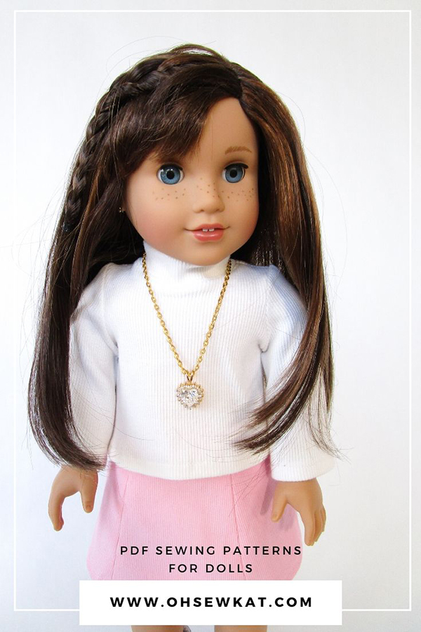 Make an 18 inch doll necklace for Valentine's Day. Easy bead and chain 18 inch doll jewelry look great with doll fashions made from Oh Sew Kat! pdf sewing patterns on Etsy.