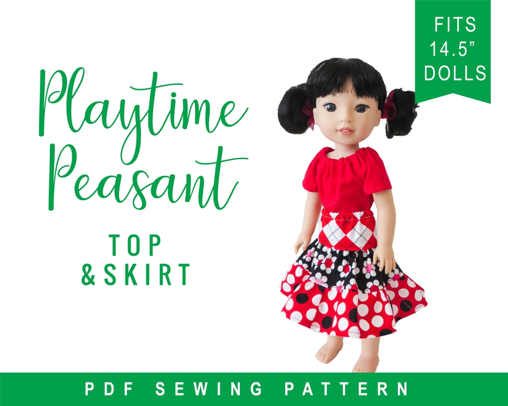 Playtime Peasant Top and Skirt PDF Sewing Pattern for 14 inch dolls like Wellie Wishers Glitter Girls Hearts for Hearts