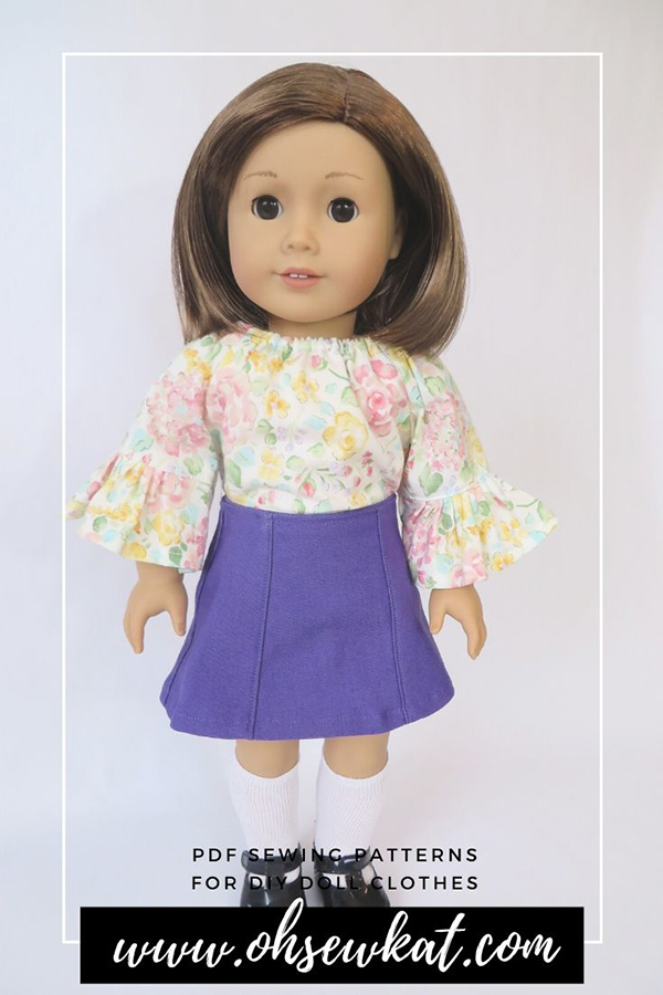 Make your 18 inch doll an adorable ruffled sleeve peasant top with the Playtime Peasant Top PDF Sewing Pattern from Oh Sew Kat! Available in my Etsy Shop in 5 popular doll sizes includes long and short sleeves and a 3 tiered skirt.
