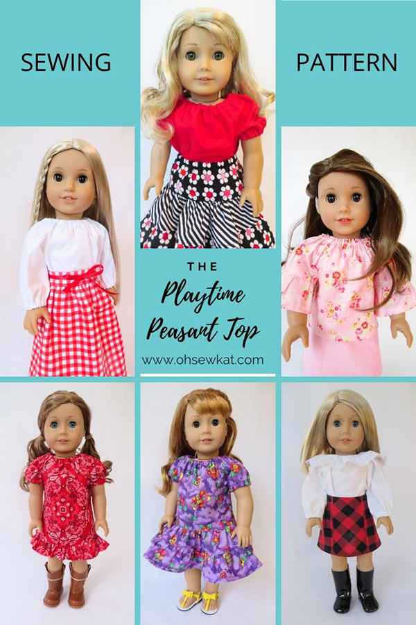 Use the simple to sew Playtime Peasant Top to make a whole wardrobe of doll clothes. This easy PDF sewing pattern is perfect for beginers to learn to sew. Available in five sizes, Oh Sew Kat! patterns can be sewn with pattern hacks to make lots of different styles from one pattern tutorial.