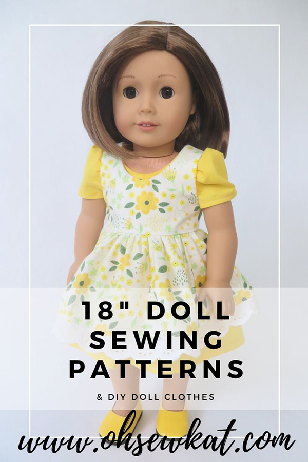 Use the Sugar n Spice PDF Sewing Pattern to make a cheery spring dress for your 18 inch doll. Yellow dress and pinafore pattern is easy to sew with pattern pieces you print at home. This tutorial is also available in my Etsy Shop in other popular doll sizes. Visit ohsewkat.com to see more.