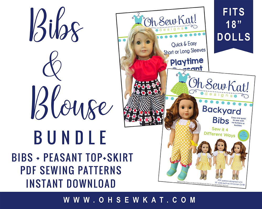 Make 18 inch doll clothes with easy PDF sewing patterns from Oh Sew Kat! for dolls like American Girl. Easy to sew peasant top and overalls, perfect for GOTY Blaire.