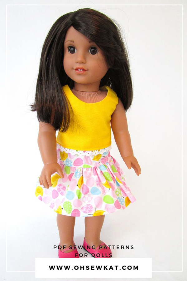 Make an easy skirt for your 18 inch doll with the very easy FOUR SEASON SKIRT- a free pdf sewing pattern from Oh Sew Kat! Find more patterns in the OhSewKat etsy shop and download and sew today.