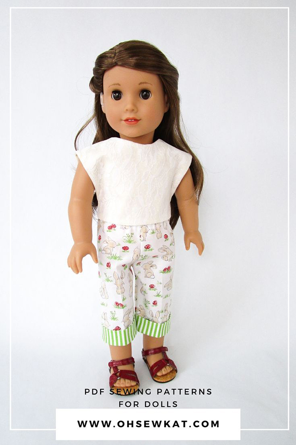Picnic Play Easy Sewing Pattern for 18 inch dolls like American Girl by OhSEWKat. Find more pdf printable tutorials in my OhSewKat Etsy shop. Great for beginners!