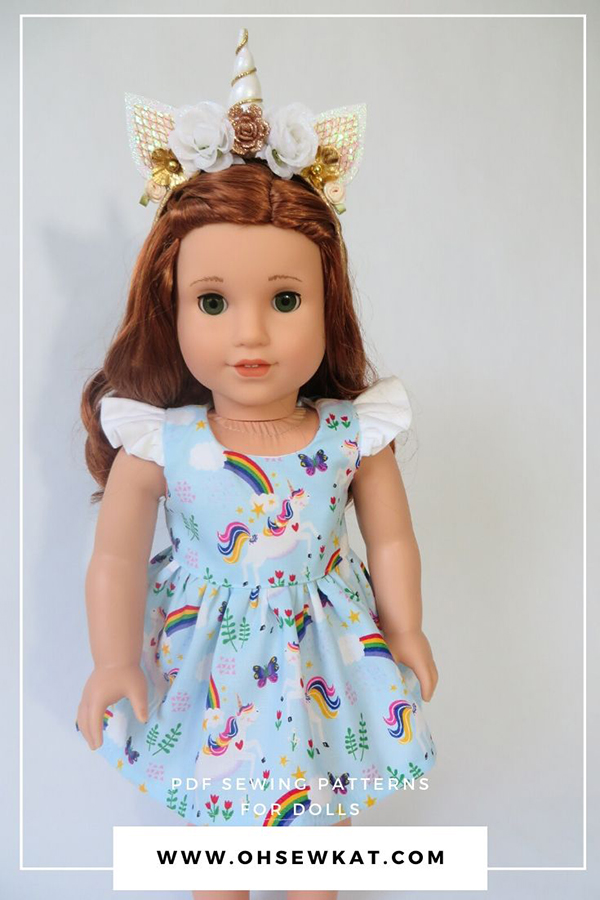 Spring Shine PDF sewing pattern for 18 inch dolls like American Girl dolls. Easy printable PDF sewing patterns are perfect for beginners. Find more patterns in the OhSewKat Etsy Shop.