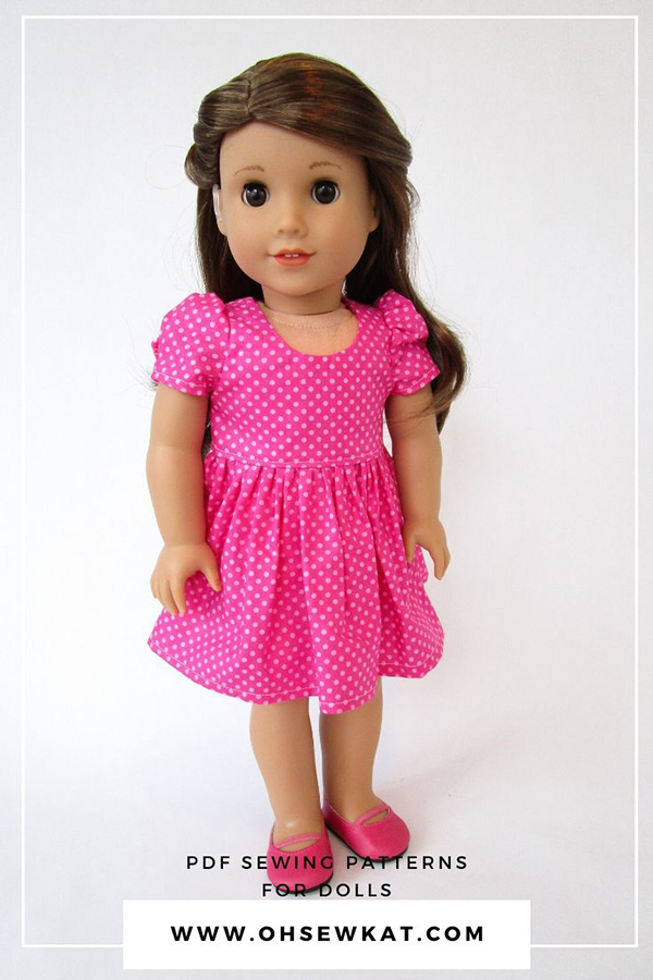 Make an Easter dress for 18 inch dolls with the easy to sew Sugar n Spice PDF sewing pattern. Great beginner sewing printable tutorial; find a large selection of budget friendly sewing patterns in the OhSewKat Etsy Shop.