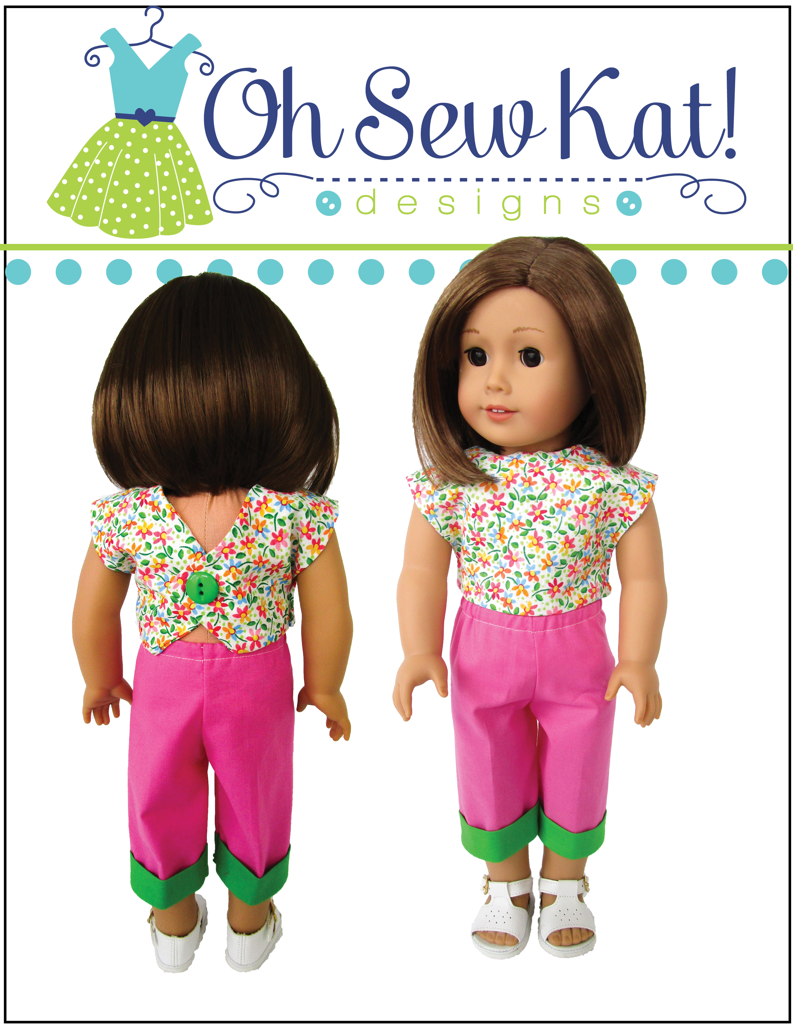 Make this super quick and easy Picnic Play outfit for your 18 inch doll with the PDF digital sewing pattern from OhSewKat. Fat quarter friendly, quick sewing project to make 18 inch doll capris, backpack and simple shirt. Find more patterns in the OHSewKat etsy Shop.