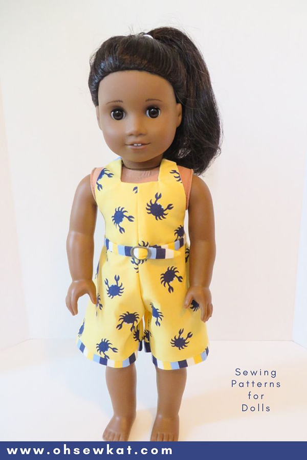 The HalterAlls PDF sewing pattern is perfect to make a quick and easy outfit for your 18 inch dolls like American Girl Dolls. Find more sewing patterns for doll clothes in the OhSewkat Etsy shop.