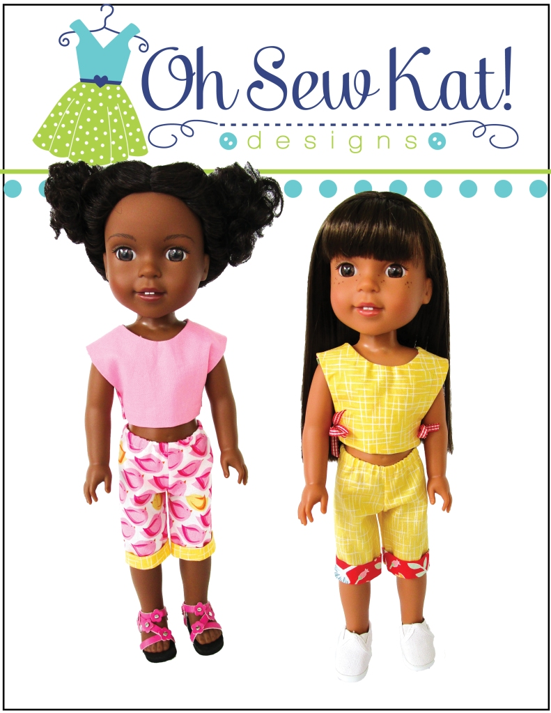 Make this super quick and easy Picnic Play outfit for your 14-15 inch doll with the PDF digital sewing pattern from OhSewKat. Fat quarter friendly, quick sewing project to make Welliewisher sized doll capris, backpack and simple shirt. Find more patterns in the OHSewKat etsy Shop.
