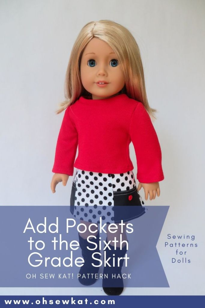 Add pockets to the very easy Sixth Grade Skirt PDF Sewing pattern from OhSewKat on Etsy. Perfect for beginners to sew clothes for 18 inch dolls.