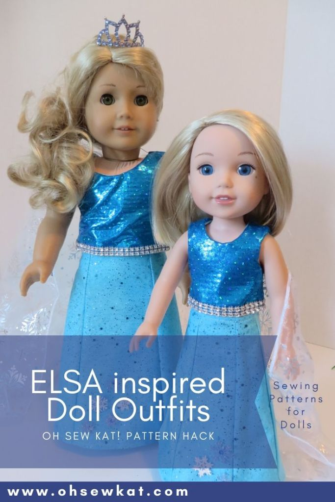 Make an Elsa inspired outfit with this hack to the very easy Sixth Grade Skirt PDF Sewing pattern from OhSewKat on Etsy. Perfect for beginners to sew clothes for 18 inch dolls.