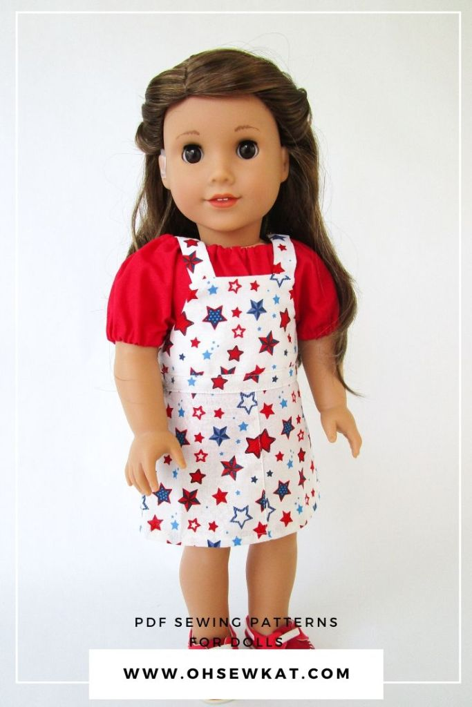 Make an easy 18 inch doll clothes outfit for the Fourth Of July with the easy to sew Backyard Bibs PDF pattern from OhSewKat on etsy.