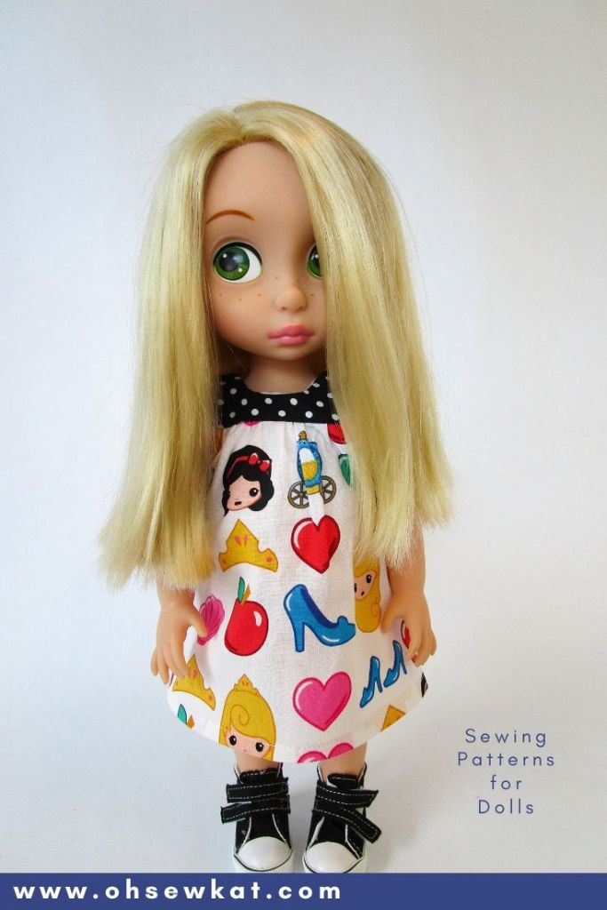 Make your own DIY doll clothes for 16 inch Disney Princess Animators' doll with easy to sew PDF sewing patterns from OhSewKat.