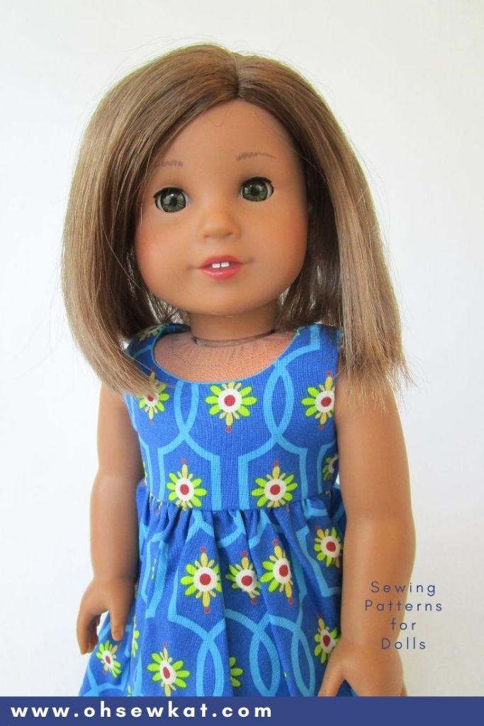 Make an easy breezy summertime sundress for your 18 inch dolls with the simple PDF sewing pattern, Sugar n Spice, from Oh Sew Kat! on Etsy. Find more patterns for American Girl Dolls and other sizes too.