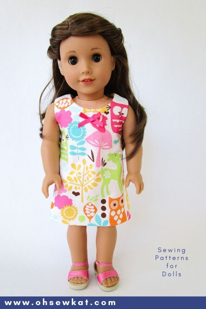 Make a reversible sundress for your 18 inch American Girl doll with the easy Sunshine Dress sewing pattern and Oh Sew Kat! pattern hacks. Find more doll clothes PDF sewing patterns in the OhSewKat etsy shop.