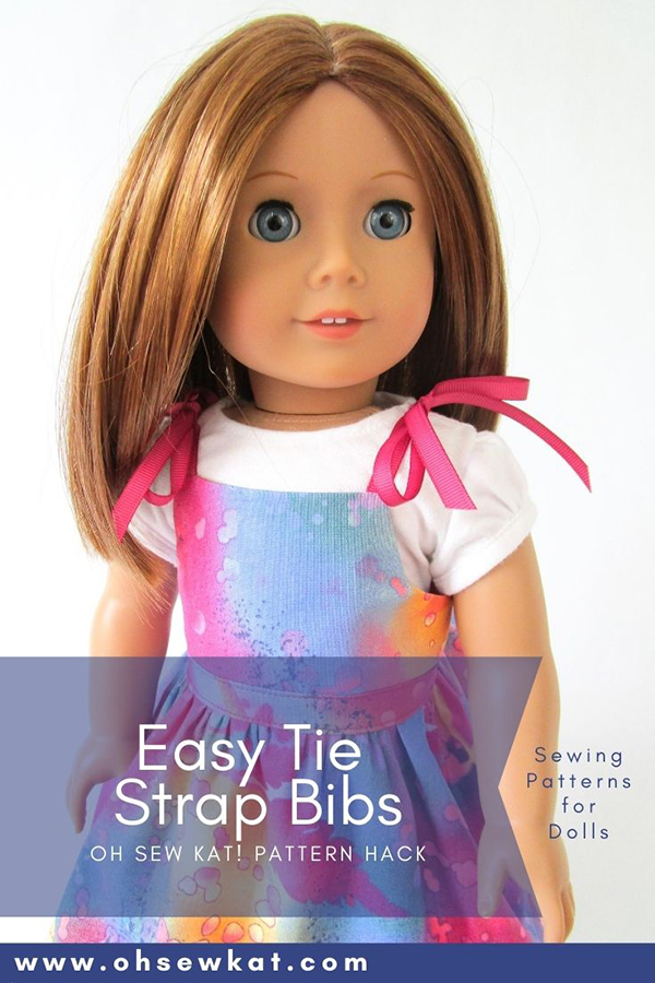 Make an easy romper with tied straps for your 18 inch American Girl doll. The Backyard Bibs PDF Sewing Pattern from Oh Sew Kat is quick to sew and has four options- two pants and two skirts. Find out more in the OhSewKat etsy shop.