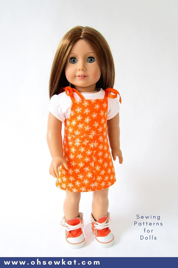 Use the Backyard Bibs PDF sewing pattern from OhSewKat to make cute doll clothes for American Girl and other sized dolls.