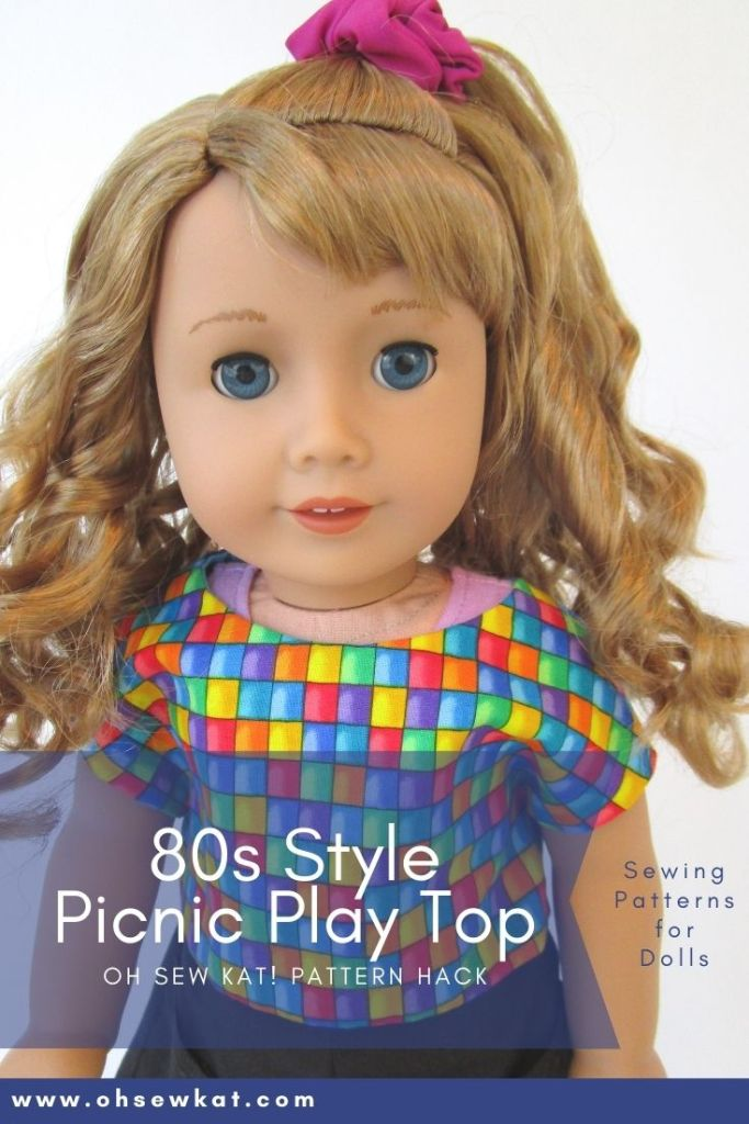 80s style top for 18 inch dolls: Make doll clothes for 1980's 18 inch dolls like Courtney Moore from American Girl. Easy to sew doll clothes with easy PDF digital patterns, printables, and tutorials from OhSewKat. Also available on Etsy. Make a boxy crop top, hair scrunchies, and bubble skirts.