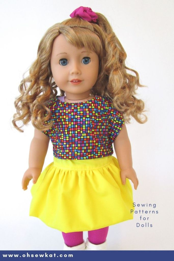 Make doll clothes for 1980's 18 inch dolls like Courtney Moore from American Girl. Easy to sew doll clothes with easy PDF digital patterns, printables, and tutorials from OhSewKat. Also available on Etsy. Make a boxy crop top, hair scrunchies, and bubble skirts.