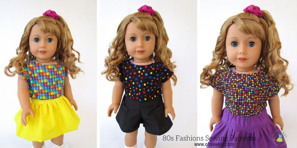 Sew your own 1980s doll clothes for 18 inch dolls like Courtney Moore with easy PDF sewing patterns from Oh Sew Kat!