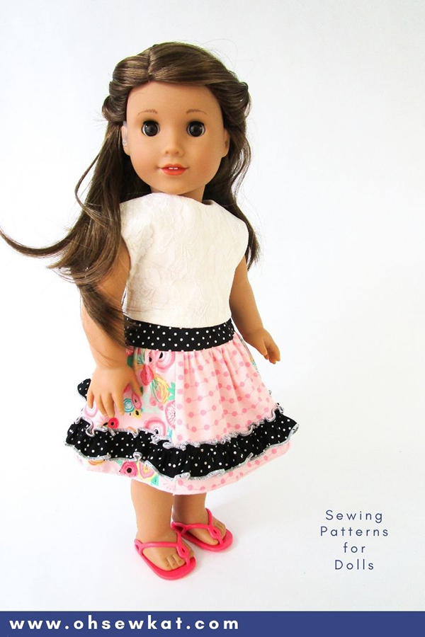 Make a boutique style skirt for your 18 inch American Girl type doll - three variations and easy to sew! Find the download PDF Sewing pattern at OhSewKat on Etsy.