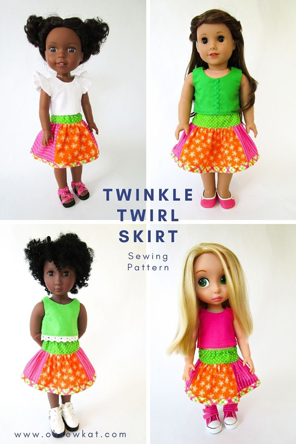 Make a boutique style skirt for your doll that is 14-18 inches- three variations and easy to sew! Find the download PDF Sewing pattern at OhSewKat on Etsy.