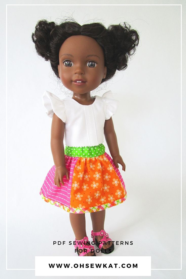 Make a boutique style skirt for your 14 inch American Girl type doll - three variations and easy to sew! Find the download PDF Sewing pattern at OhSewKat on Etsy.