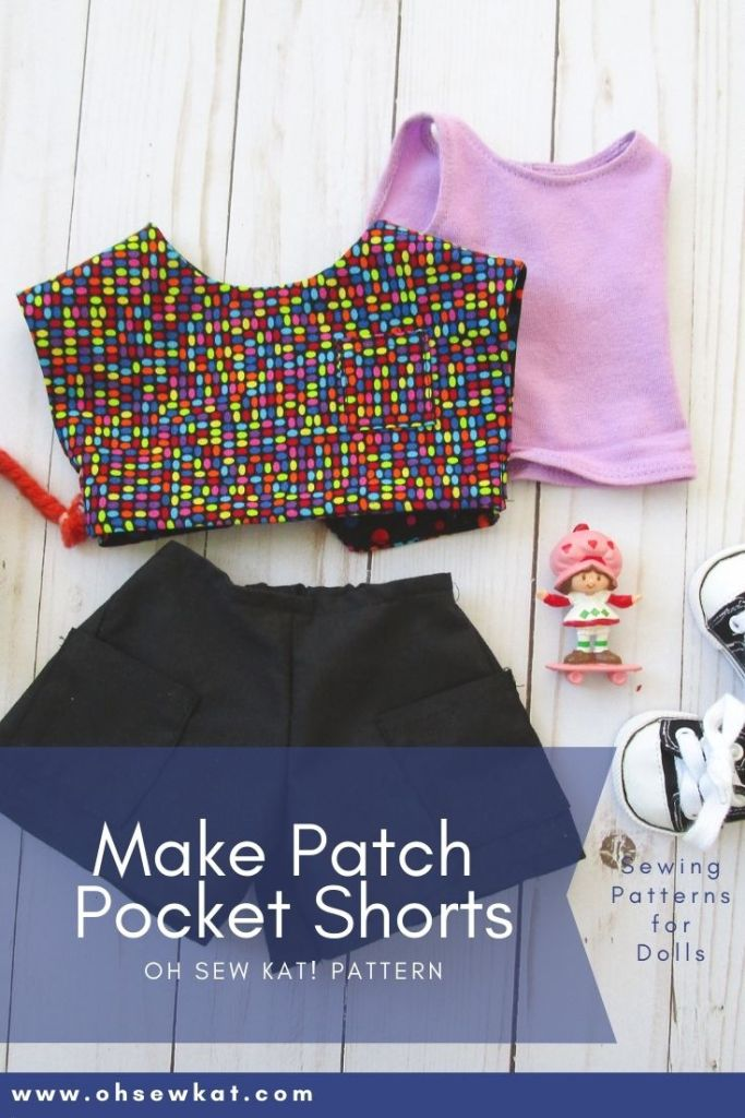 Use the Oh Sew Kat! Sandbox Shorts PDF Sewing pattern to make 80s style patch pocket shorts for American Girl character Doll- Courtney Moore. Find all your doll clothes pattern needs and try a skirt pattern free at ohsewkat.com.