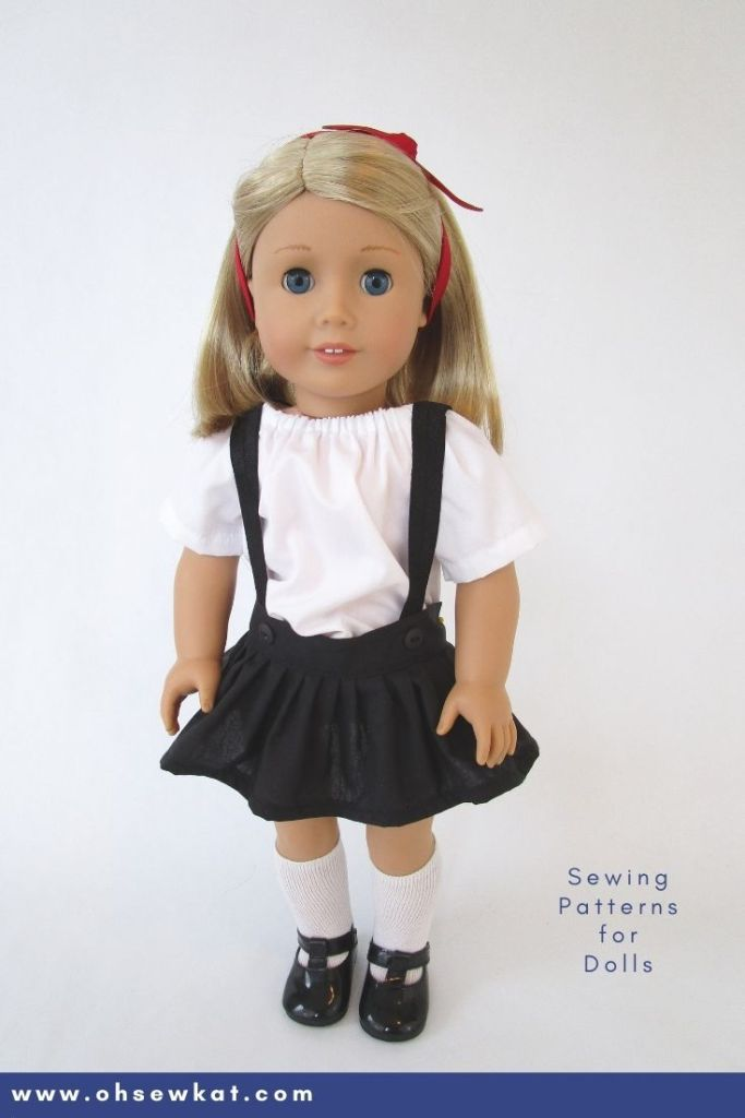 Make an Eloise inspired outfit for your 18 inch doll like American Girl with the easy PDF sewing pattern from Oh Sew Kat! Shop on etsy for a full selection of doll sewing patterns in five sizes, and visit ohsewkat.com to get a skirt pattern to try for FREE.