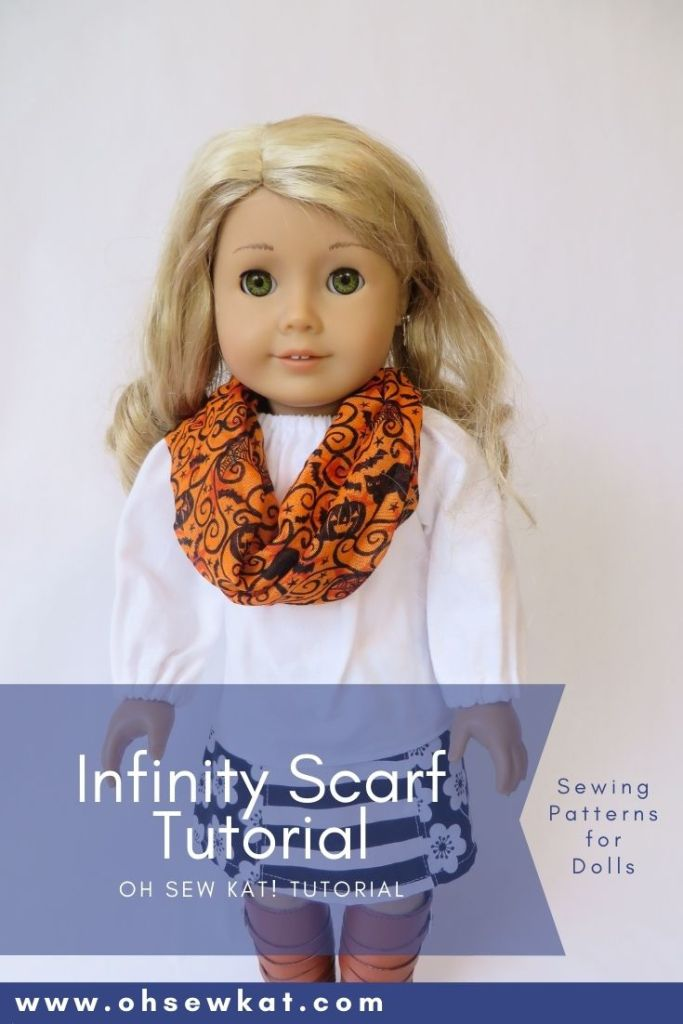 How to make an infinity scarf for your doll with Dollar Tree Supplies. Visit www.ohsewkat.com to try a free doll clothes sewing pattern.
