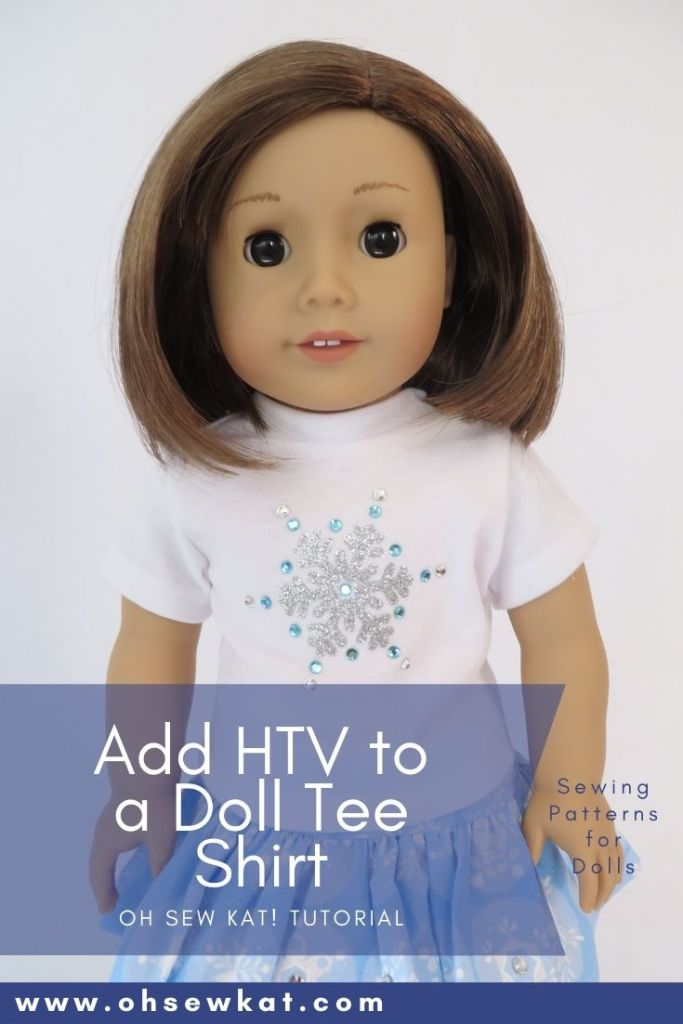 Make a sparkly snowflake tee shirt for your 18 inch doll with this quick and easy HTV tutorial by Oh Sew Kat! Find more sewing patterns for American Girl dolls (free skirt pattern) at www.ohsewkat.com.