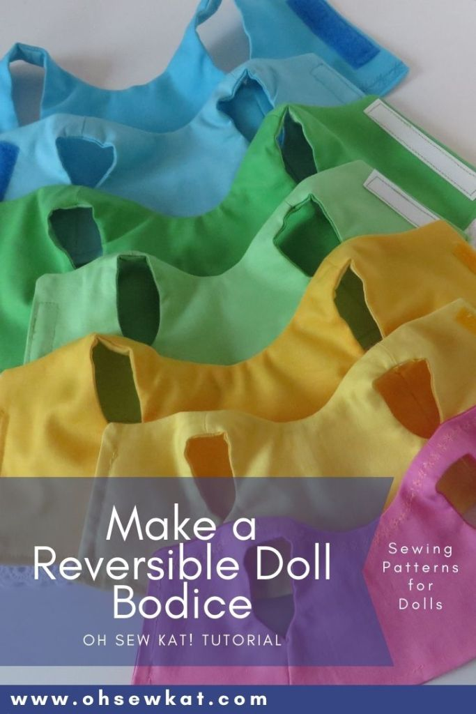 Make a reversible doll bodice tutorial; how to flip a doll bodice, best way to flip a doll bodice, best tools for flipping doll bodice or tubes. Easy sewing patterns for dolls by Oh Sew Kat! #ohsewkat #dollclothes #bestsewingtools #sewingpatterns #tutorial