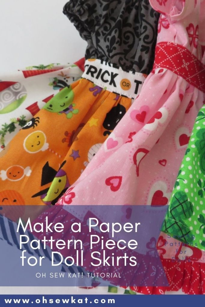 Make a paper pattern for a gathered doll skirt if the PDF Sewing pattern doesn't include one with this easy tutorial by Oh Sew Kat! Find easy to sew doll clothes sewing patterns on Etsy.
