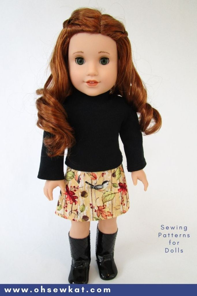 Make your own 18 inch doll clothes with easy to sew PDF sewing patterns from Oh Sew Kat! Make your American Girl doll a trendy skirt and cozy turleneck shirt. Easy to follow photo tutorial for American Girl doll clothes.