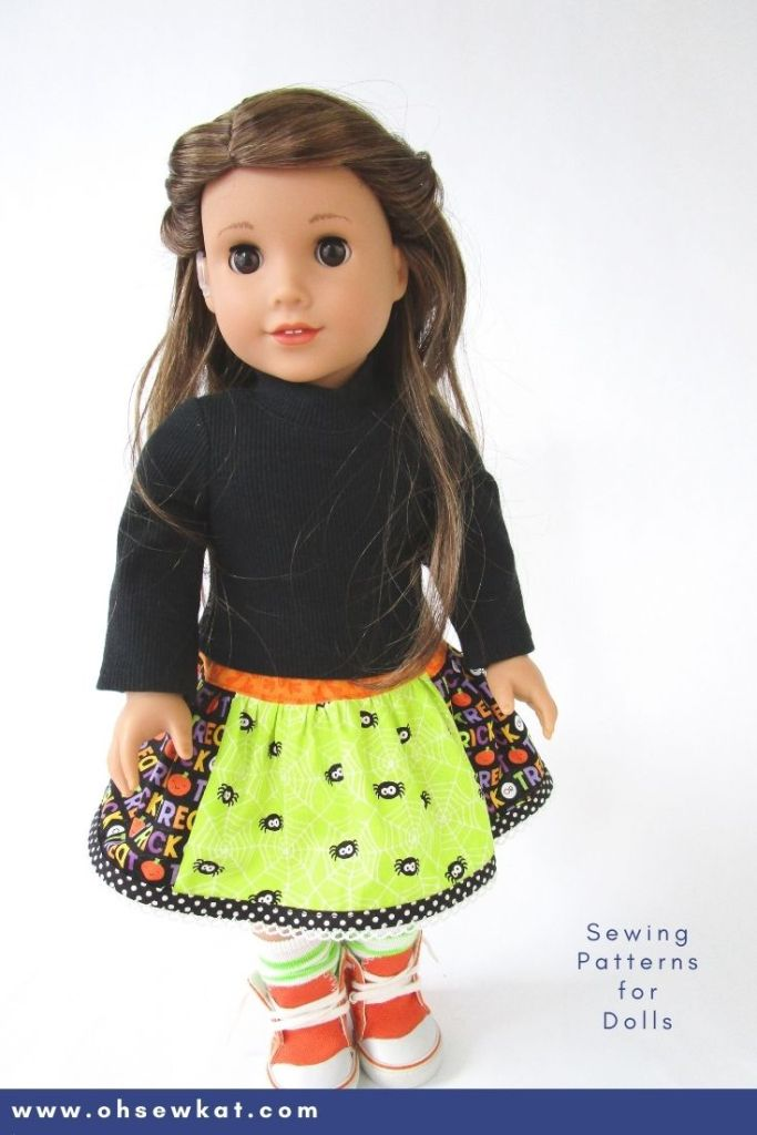 Use the Oh Sew Kat! Pdf pattern Twinkle Twirl Skirt to make a fun, patchwork 18 inch doll skirt for Halloween. Click the pin to find more PDF patterns for 18 inch American Girl dolls and other sizes too. Free skirt pattern at www.ohsewkat.com