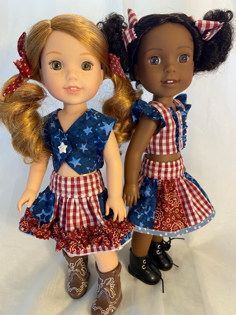Patriotic Ruffled Skirt outfits for Wellie Wishers and other 14 inch dolls
