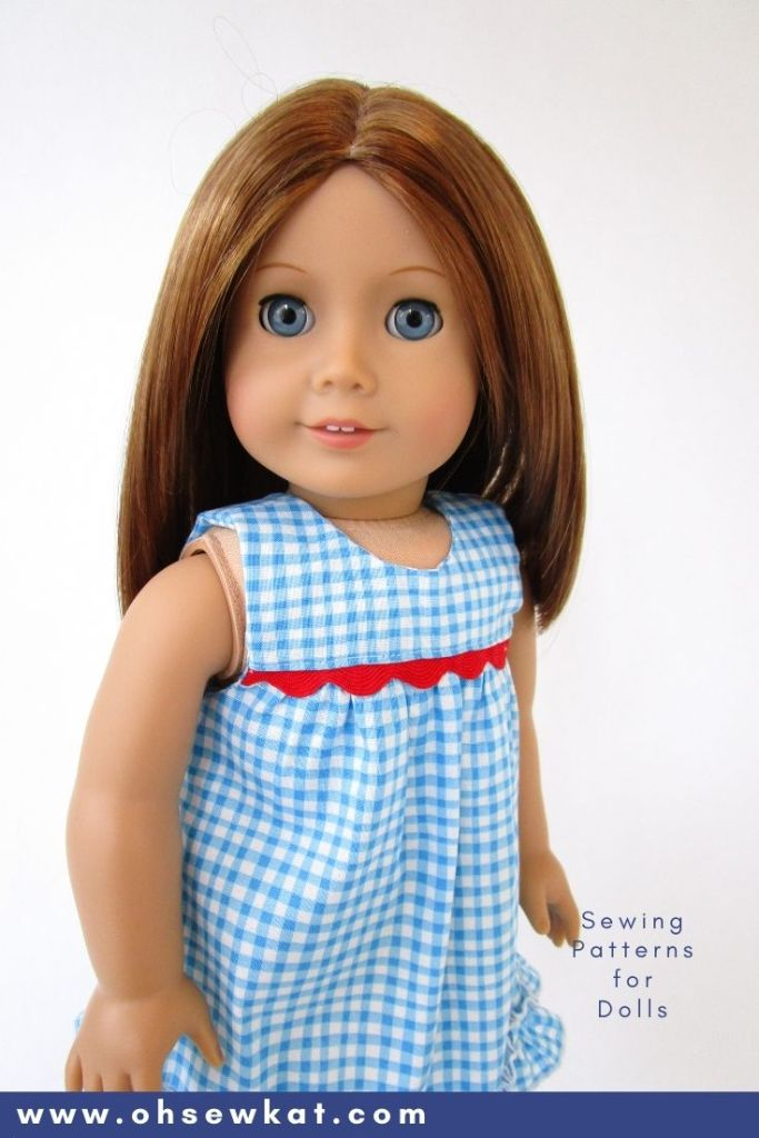 Make your 18 inch doll a cute sundress with the Bloomer Buddies PDF sewing pattern from the OhSewKat etsy shop. Make a top or a dress, with or without sleeves for fun mix and match. Find easy to sew beginner level sewing patterns for 18 inch dolls like American Girl at Oh Sew Kat! Free pattern on my blog!